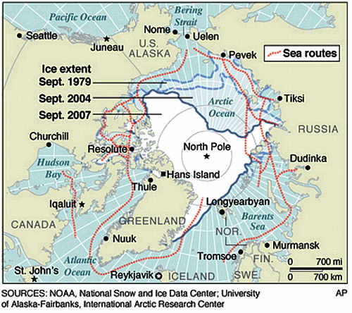 Marineforum - die schon heute  im Polarsommer befahrbaren Routen (Grafik: NOAA)