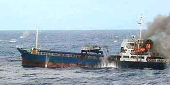 Marineforum MATSHUSIMA unter Beschuss (Foto: MOD Srilanka)