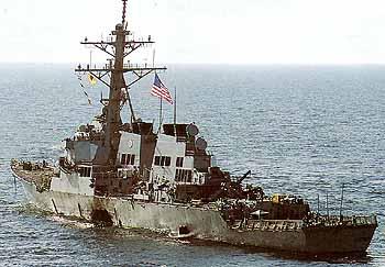 Marineforum COLE nach dem Anschlag (Foto: US-Navy)