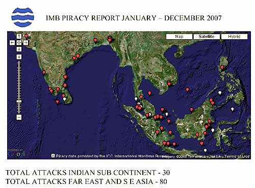 Marineforum - Piratenüberfälle Asien (Karte: IMB Piracy Report 2007)