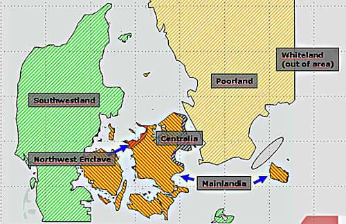 Marineforum - Fiktive Geographie von Danex-2010 (Grafik: dän. Marine)