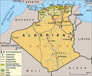 Algerien Map - Grafik: weltkarte.com
