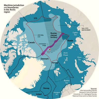 Gebietsansprüche im Nordpolarmeer (Grafik: wikipedia)