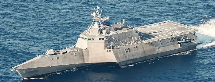 140423-N-VD564-003 PACIFIC OCEAN (April 23, 2014) The littoral combat ship USS Coronado (LCS 4) underway in the Pacific Ocean on April 23, 2014. (U.S. Navy photo by Chief Mass Communication Specialist Keith DeVinney/Released)