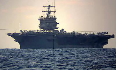 die 'Enterprise' durch ein U-Boot-Sehrohr fotografiert (Foto: Marine