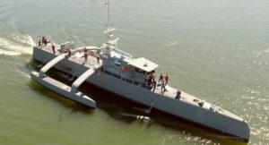 US-Langstreckendrohne ACTUV bei - noch bemannter - Erprobung (Foto: US Navy)