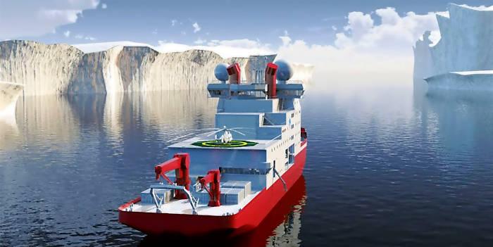 Design der finnischen Aker für einen chinesischen Arktis-Forschungseisbrecher (Grafik: aker)