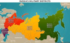 Eurasische Landmacht Russland – heutige Militärbezirke (Grafik: stratfor.com)