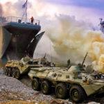 Seelandung: amphibische Transportschiffe entladen direkt am Strand (Foto: MoD Russia)