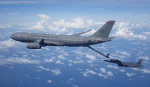 The photo shows a RSAF A330 MRTT in a refuelling operation with a RSAF F-15SG fighter.